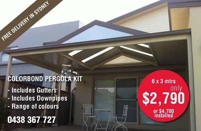 Colorbond Pergola Roof Package